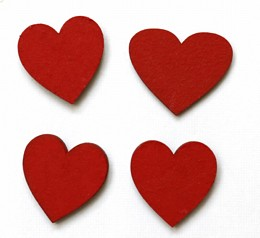 Heart red magnets pack of four