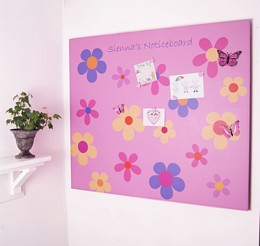 Giant personalised flower power noticeboard